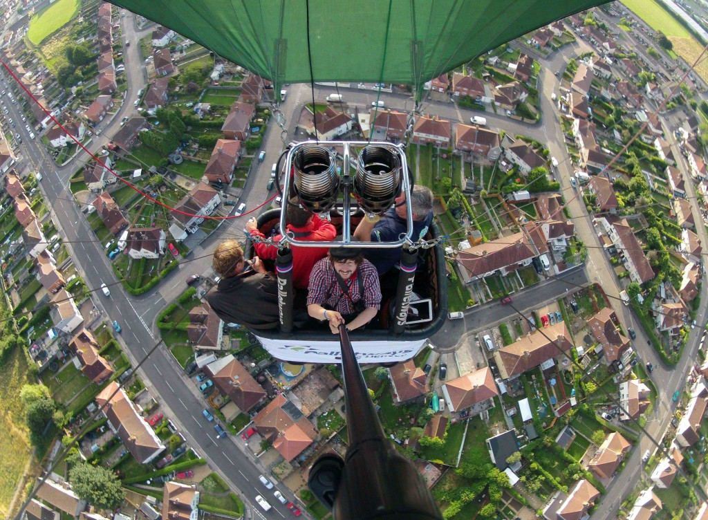 Pole cam view from a hot air balloon during Bristol Balloon Fiesta. Aug 2013