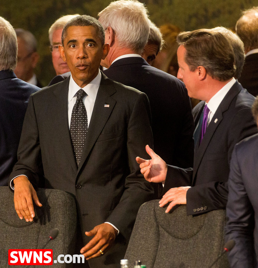Barrack Obama and David Cameron. NATO ISAF meeting. 4 September 2014