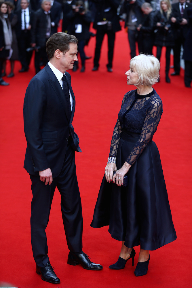 Helen Mirren and Colin Firth attend the premiere of Eye in the Sky at the Curzon Mayfair cinema in London. In the film Helen Mirren plays London-based military intelligence officer Colonel Katherine Powell who is remotely commanding a top secret drone operation to capture a group of dangerous terrorists from their safe-house in Nairobi, Kenya. April 11 2016.
