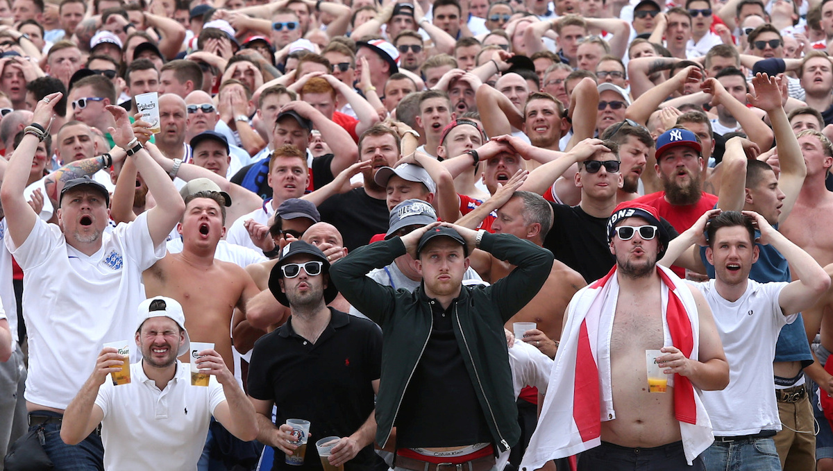 Over 20,000 football fans soak up the atmosphere in the fan zone at Lille, France, as England play Wales in Euro 2016, 16 June 2016. For the first time in 50 years the two teams are meeting in a tournament.
