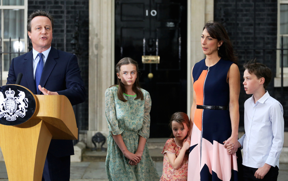 Former Prime Minister David Cameron leaves number 10 Downing street with his wife Samantha and their children Arthur, 10, Florence, 5, and Nancy ,12, London July 13 2016. The new Conservative leader Theresa May will take over the reins of the Government after Cameron failed to get the public backing in the EU referendum.